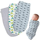 Henry Hunter Baby Swaddle Cocoon Sack | The Simple Swaddle | Soft Stretchy Comfortable Cotton Receiving Blanket for Infants & Newborns 0-3 Months (Dinosaur | Shark | Light Heather)