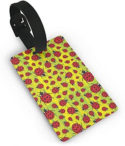 Ladybug Red Art Bug Funny Themed Printed Rolling Airplane Lage etiqueta identificador de maleta de viaje, etiquetas duraderas para mujeres, hombres, niños y equipajes