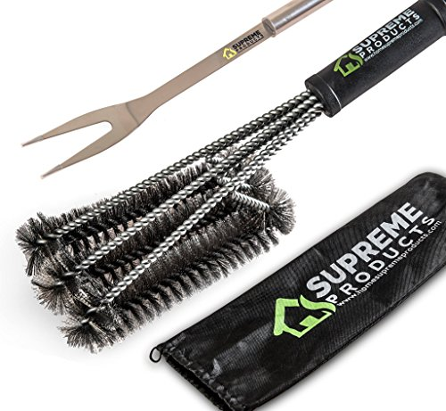 Lowest Price! Home Supreme Products BBQ Grill Brush + Stainless Steel Fork, 18″ with 3X Super Thick Brushes Long Handle. Great for Charcoal, Weber, Gas, Electric, Porcelain & Infrared Free Handy Bag.