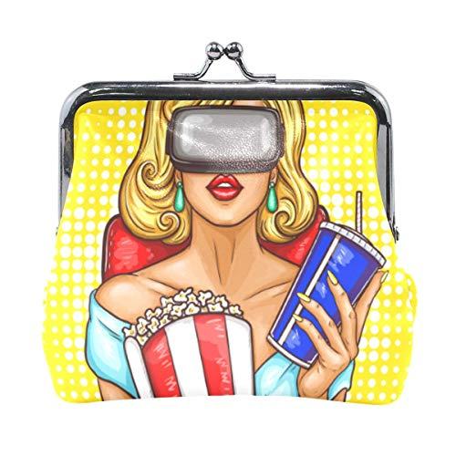 Frau mit virtueller Realität Brille Münzgeldbörse Clutch Kleiner Beutel Weibliche Brieftasche Geldbeutel Karte Wechselhalter