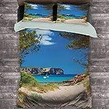 Toopeek Beach Hotel Luxury Bed Linen View on Cala Algaiarens from Sand Pathway Acantilado en agua Menorca Isla Europa Temática Poliéster - Suave y Transpirable (King) Multicolor
