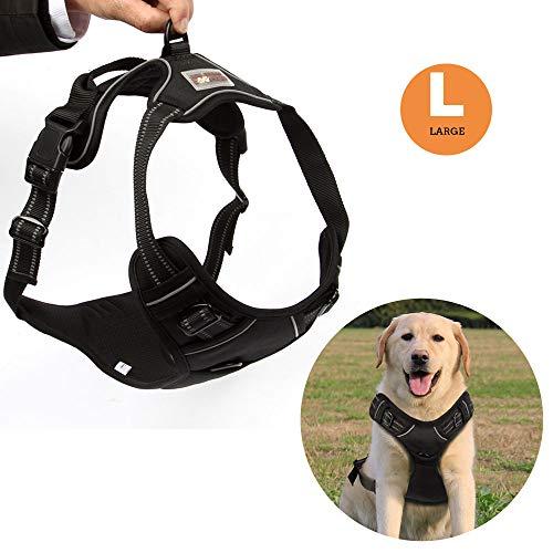 Funkeen® Hundegeschirr für Große Hunde Anti Zug Geschirr No Pull Sicherheitsgeschirr Brustgeschirr - verstellbar, Weiches reflektierend, atmungsaktiv, Leichtes Hundegeschirr (L)