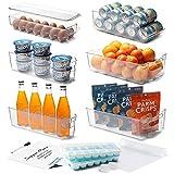 StorageBud Organizador para nevera, 14 piezas, organizador para frigorífico, organizador apilable, organizador para congelador, organizador transparente para nevera, cubos de acrílico para nevera