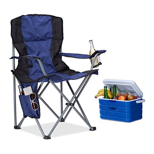 Relaxdays 10021003 Sedia da Campeggio Pieghevole, con Porta-bevande, Schienale e Braccioli, HxLxP: 93x77x52 cm, Blu-Nero