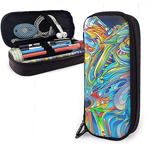 Líneas de colores de la caja de lápices de la bolsa de la caja de lápices de cuero del gato, caja de papelería