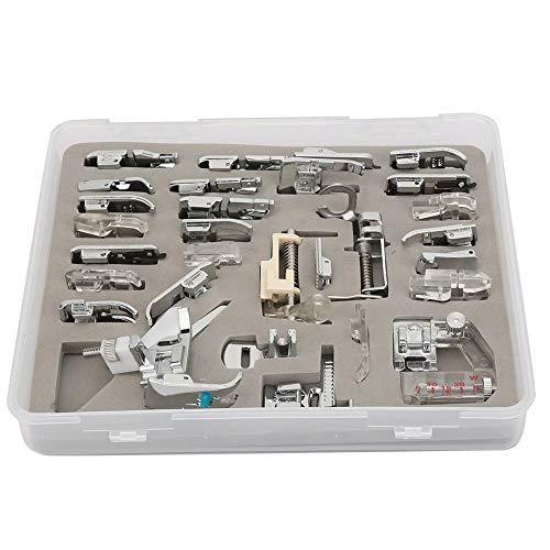 Atyhao Kit de pies de prensatelas para máquina de Coser, Kit de Trenzado para pies de máquina de Coser de Hierro Multifuncional para el hogar(62 Piezas)