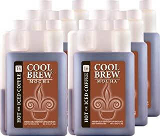 Cool Brew Fresh Coffee Concentrate - Mocha 6x500ml - Make Iced Coffee or Hot Coffee - Enough for 100 drinks