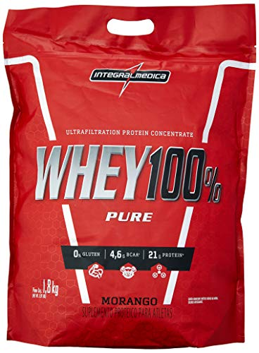 Whey 100% Pure Pouch 1.8Kg Morango, Integralmedica, 1.8Kg
