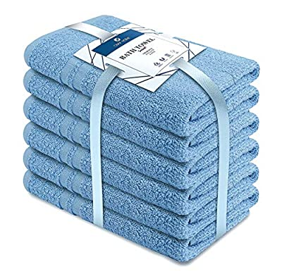 MEDICASCRUBS 100% Organic Cotton Bath Towels Set Pk 6-Ultra Soft Large Bath Towel- Blue Bath Towel Set-Highly Absorbent Daily Usage Bath Towel-Ideal for Pool Home Gym Spa Hotel-Bath Towel Set 22 x 44