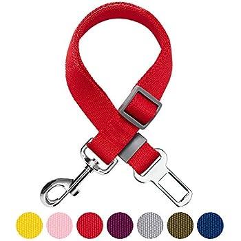 Umi. by Amazon - Laisse de sécurité réglable robuste pour chien, pour voiture et à utiliser avec un harnais, Rouge