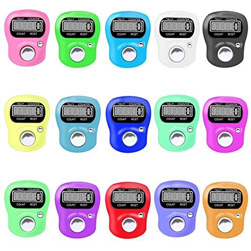 IWILCS Mechanischer Handzähler, 15Pcs Mini Finger Counter, Rundenzähler Digital Hand Held Clicker Zähler Mini Golf mit Metallschlaufe für Inventur Messen Training Schule (Zufällige Farbe)