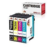 Mony Cartuchos de tinta compatibles de repuesto para Epson 502 XL para Epson Expression Home XP-5100 XP-5105 XP-5115, Workforce WF-2860DWF WF-2865DWF impresora de inyección de tinta (4 Pack)