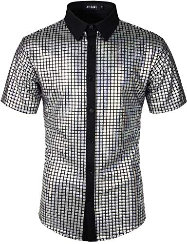 JOGAL Men's Dress Shirt Sequins Button Down Shirts 70s Disco Party Costume Small A353 Silver