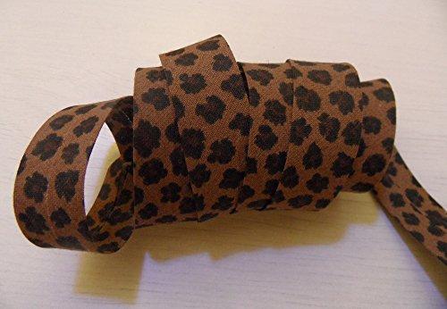 ILC MERCERIE PARADIS Biais Liberty Ruban 20 mm x 2 mètres 100% Coton Fleuri, à Fruits, écossais, à Dessins pour Enfant/bébé. au Choix (léopard 2)