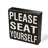 Yankario Farmhouse Funny Bathroom Signs Decor, Classic Wooden Box Sign 6' Square, Black/White Please Seat Yourself