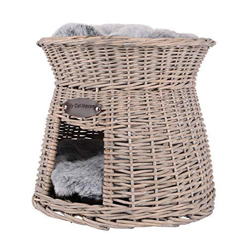 RM Design Katzenkörbchen als Katzenturm aus Rattan in Grau mit weichem Kissen
