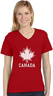 Canada Day Canada Maple Leaf Canadian Patriotic V-Neck Fitted Women T-Shirt