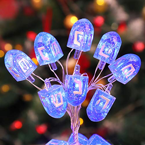 IMPRESS LIFE Hanukkah Dreidel Decoration String Lights, 10 ft 30 LEDs Spinning Top Fairy Twinkle Lights, USB Battery Operated with Remote for Jewish Gift for Chanukah Israeli (Blue)