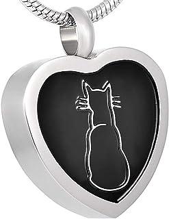 WANFJ Urn Necklace for Ashes Cat Incisione Cuore Cremazione Pendente Funerale Ceneri Keepsake Pet Cremation Collana Gioiel...