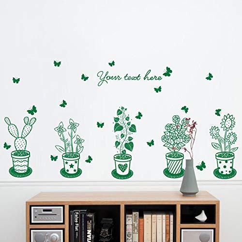 Die Kleiderschrankkarikaturtapetenaufkleber-Blumentopf-Tapetenkinder der Schlafzimmer kann warme Raumdekorationen entfernt werden, B-grüne Topfpflanze, herein