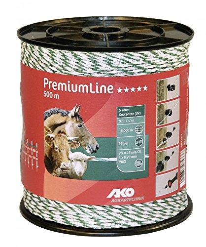 Kerbl 500 m Premium Weidezaunlitze grün-Weiss Elektrozaun Bruchlast 95 kg