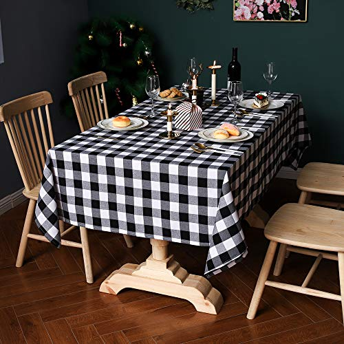 excovip Mantel a Cuadros de Lino, Creative Dining Group Mantel Rectangular con Estampado de Espiga nórdico de Navidad(140 * 140cm, tartán Blanco y Negro)