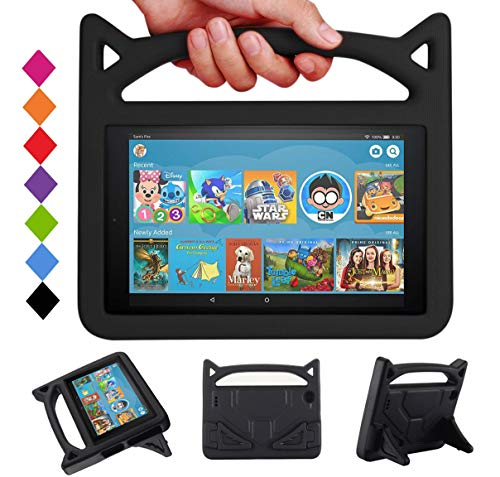 HD 10 Tablet Kids Case (9th/7th/5th Generation, 2019/2017/2015 Release) - Mr.SpadesLight Weight Shock Proof Kid Proof Cover Kids Friendly Case with Stand - Black