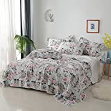 A·M CAT Twin Quilt Set, 3 Layers Quilts for Twin Bed, 100% Polyester Lightweight Bedspread Coverlet for All Season, 1 Quilt and 2 Pillow Shams(68'x86', Pink)