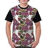 Usicapwear Man's T Shirts,Hand Drawn Active Nature Design Watercolor Effect Detailed Sketch Floral Arrangement S