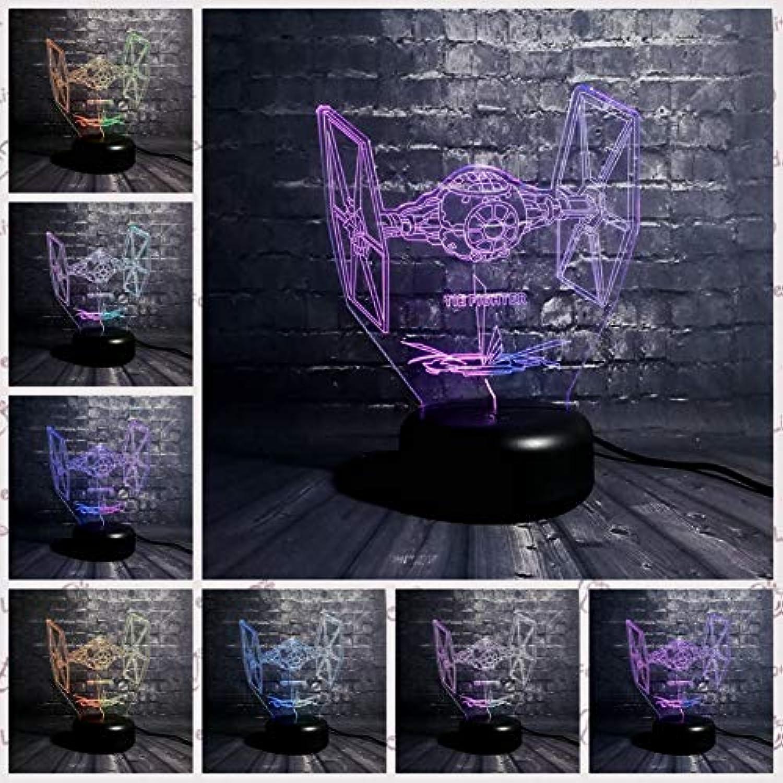 Sakj-d Wars Krawatte Twin Ion Engines Kmpfer Mischfarbe Cartoon 3D Lampe Led Nachtlicht 7 Farbverlauf Geschenk Kinder Spielzeug Tisch