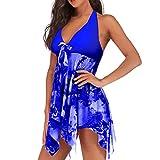 Jmsc Beachwear Copricostume Donna Scollo a V Gonna Abito a Nuotare Estate Spiaggia Costume da Bagno Intero Donna Stampato Floreale Imbottito Costume da Bagno Swimdress 4XL
