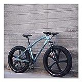 YCHBOS 26 Pulgadas Fat Tire Bike Bicicleta de Montaña para Adultos, 24 Velocidad Beach Snow Cruiser Hombres y Mujeres, Bicis Montaña con Doble Freno de Disco, Suspensión DelanteraA