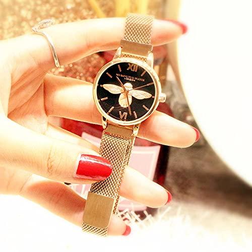 N\C Reloj de Mujer de Moda Little Bee Reloj de Marea de Cuarzo Impermeable de Alivio Tridimensional