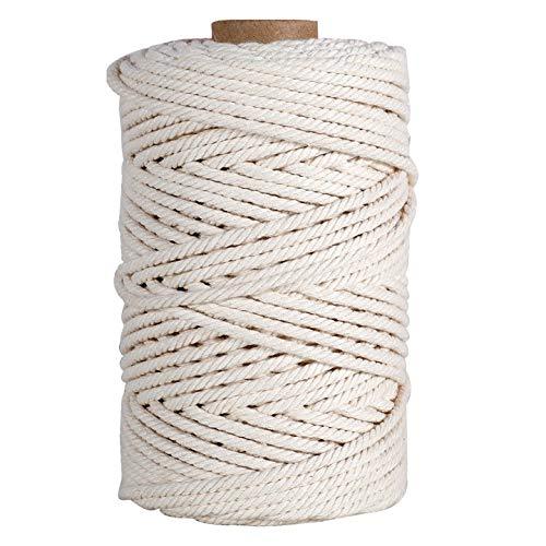 HUTHIM Macrame Cuerda 5mm x 100m, 100% Algodó Cordel Hilo Natural, para Macramé Colgador de Plantas DIY Artesanía Decoración Bohemia, Beige