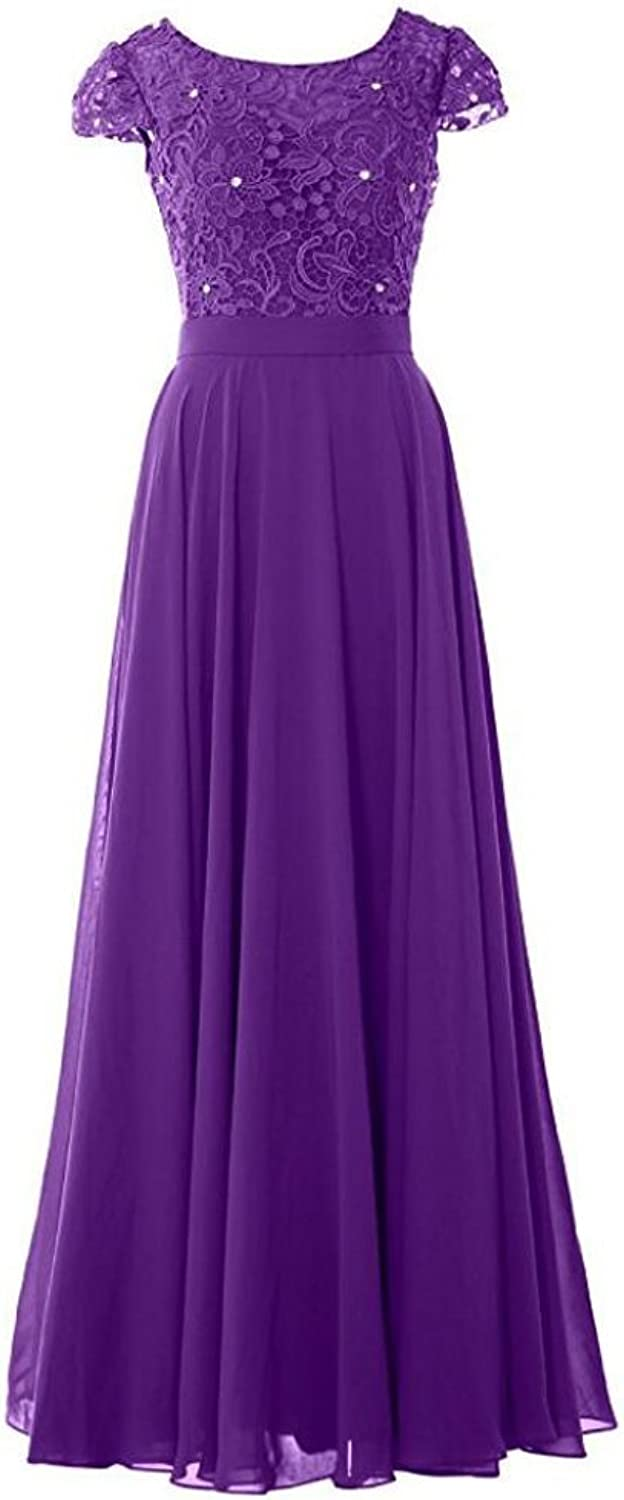AK Beauty Women Cap Sleeve Bridesmaid Dress Vintage Lace Evening Formal Gown