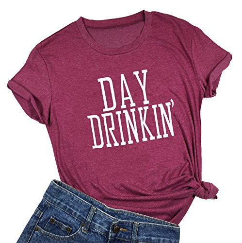 Women Day Drinkin' T Shirts Drinking All Day Funny Casual Tops Tee (Large, Red)