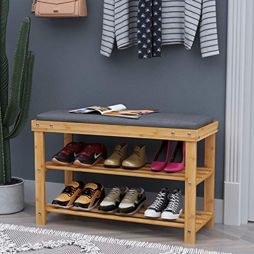 BAMFOX Upgraded Modern Style Bamboo Shoe Bench Rack with Cushion Upholstered Padded Seat Storage Bench, 3-Tier Shoe Rack Entryway Perfect Bench Seat for Entryway