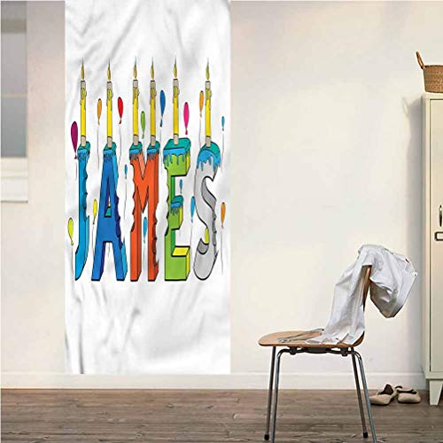 Poppy Ramsden James ONE Piece Door Mural Wall Sticker,Birthday Candle Pattern Peel and Stick Removable Wallpaper Wall Decal for Door/Wall/Fridge Home Decor,32x80 Inch