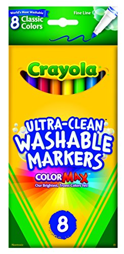 Crayola Ultra Clean Washable Markers, Fine Line Markers, School Supplies, 8 Count