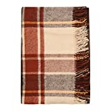 Cozy Wool Blanket, 100% New Zealand Wool, Tartan Design, Brown and Beige, Twin and Queen Sizes (55' x 79')