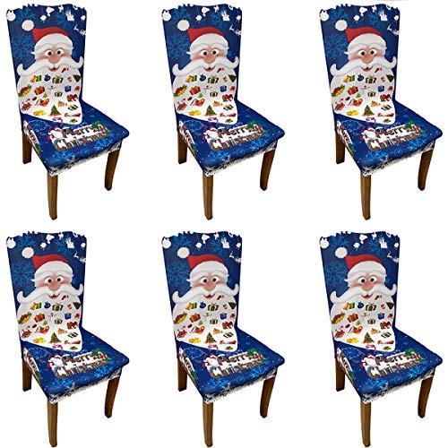 Christmas Dining Chair Covers - Set mit 6 Stretchstühlen Schutzhülle aus wasserdichtem Polyester, abnehmbare waschbare Schonbezüge für die Dekoration von Gartenstühlen im Freien