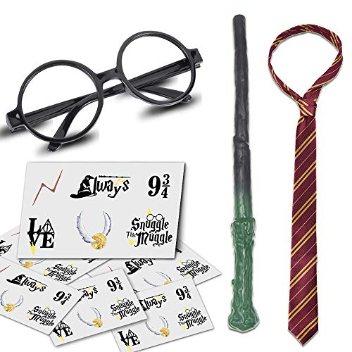 YoHold Wizard Glasses, Lighting Tattoos, Wizard Wands and Ties for Halloween, Wizard Costume Party Supplies Decorations; 36pcs Lightning Bolt Tattoos, 1pcs Wizard Wand, Glasses and Tie
