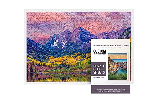 Jigsaw Puzzle White Picture Frame Kit with White Picture Frame and Puzzle Glue Sheets - for Puzzles Measuring 19.75x26.75 Inches