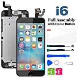 for iPhone 6 Screen Replacement Black, LCD Touch Display Digitizer Assembly with Home Button, Front Facing Camera Proximity Sensor, Ear Speaker and Full Repair Tools