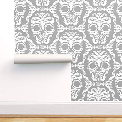 Spoonflower Peel and Stick Removable Wallpaper, Halloween Skull Victorian Damask French Skeleton Print, Self-Adhesive Wallpaper 12in x 24in Test Swatch