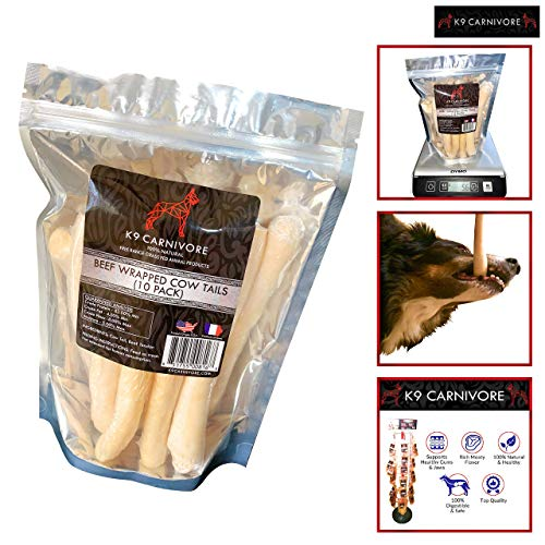 K9 CARNIVORE Iowa Beef Wrapped Cow Tails (10 Pack) - Highly Digestible, Healthy, Long Lasting & Natural Dog Treat Chews Made in USA - Best for Medium and Large Breed Dogs