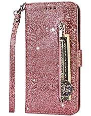 Fanxwu Cover Compatible con Funda Samsung Galaxy A10/M10 Glitter Brillante PU Cuero Cartera con Cremallera y Ranura Tarjetas Libro Tapa Flip Case - Oro Rosa