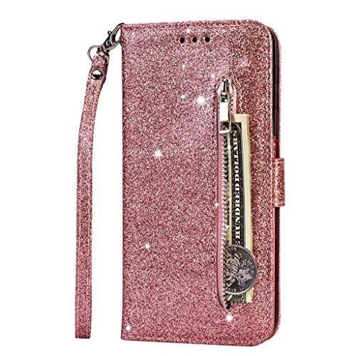 Fanxwu Kompatibel mit Samsung Galaxy A81/Note 10 Lite/M60s Hülle Glitzer Reißverschluss Brieftasche Cover mit Trageschlaufe Folio Flip Leder Multifunktionale Handyhülle - Roségold