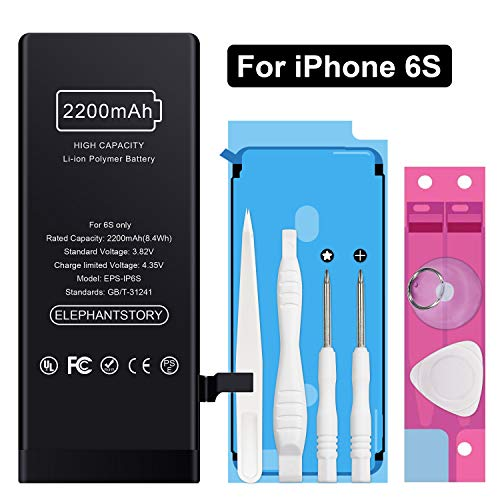 Battery Replacement for iPhone 6S 2200mAh, fit for Model A1633 A1688 A1700 Li-ion Battery for iPhone 6s with Complete Repair Tool Kits, 12 Months Warranty