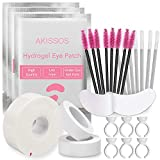 Lash Extension Supplies - Akissos Eyelash Extension Supplies Pack - 100 Eye Gel Pads | 100 Glue Rings | 100 Mascara Wands | 100 Lip Brushes | 2 Breathable Tape | 1 Lash Foam Tape